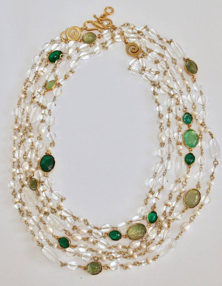 Goossens Paris Pearl and Tinted Green Rock Crystal Triple Row Long Necklace In New Condition For Sale In Virginia Beach, VA