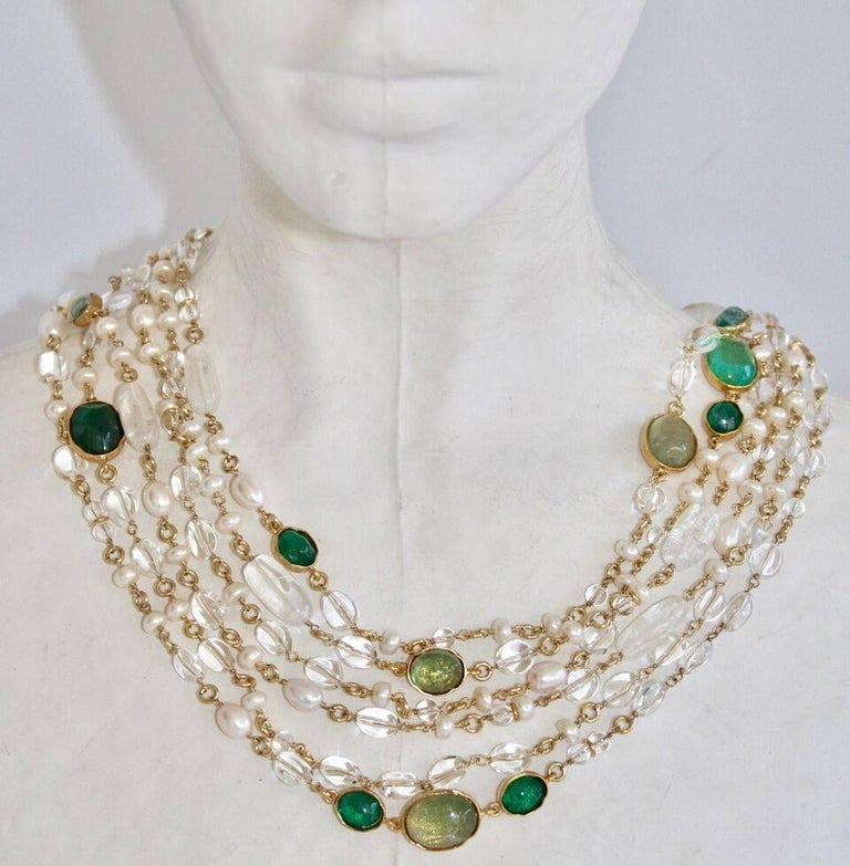 Women's Goossens Paris Pearl and Tinted Green Rock Crystal Triple Row Long Necklace For Sale