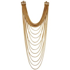 Goossens Paris Origines Gilded Brass and Rock Crystal Multi Chain Necklace