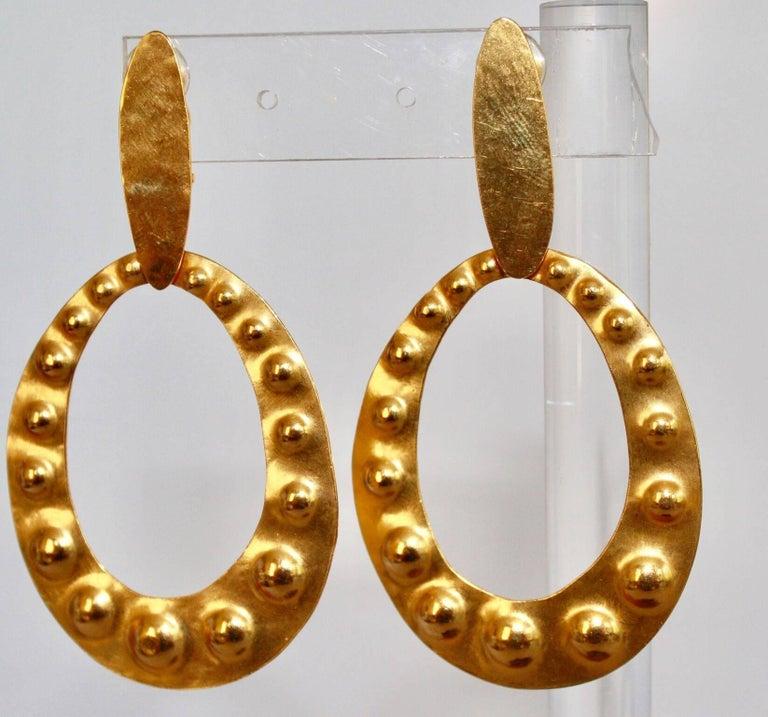 Modern Herve van der Straeten Gilded Brass Embossed Clip Earrings For Sale