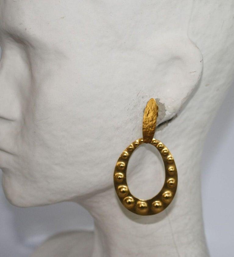 Herve van der Straeten Gilded Brass Embossed Clip Earrings In New Condition For Sale In Virginia Beach, VA