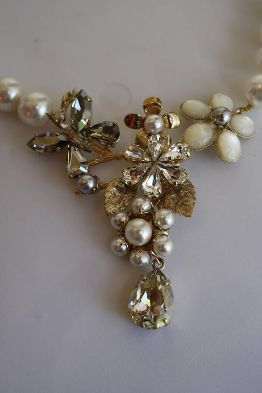 Philippe Ferrandis Glass Pearl and Swarovski Crystal Floral Motif Necklace 3