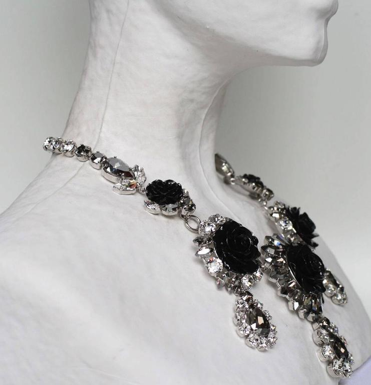 Philippe Ferrandis Swarovski Crystal and Black Resin Rose Necklace 3