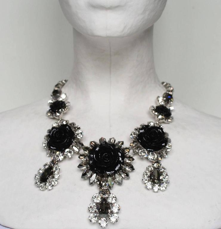 Philippe Ferrandis Swarovski Crystal and Black Resin Rose Necklace 4