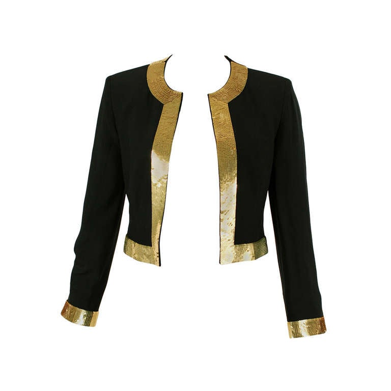 Moschino Couture 90 S Black And Gold Sequins Blazer