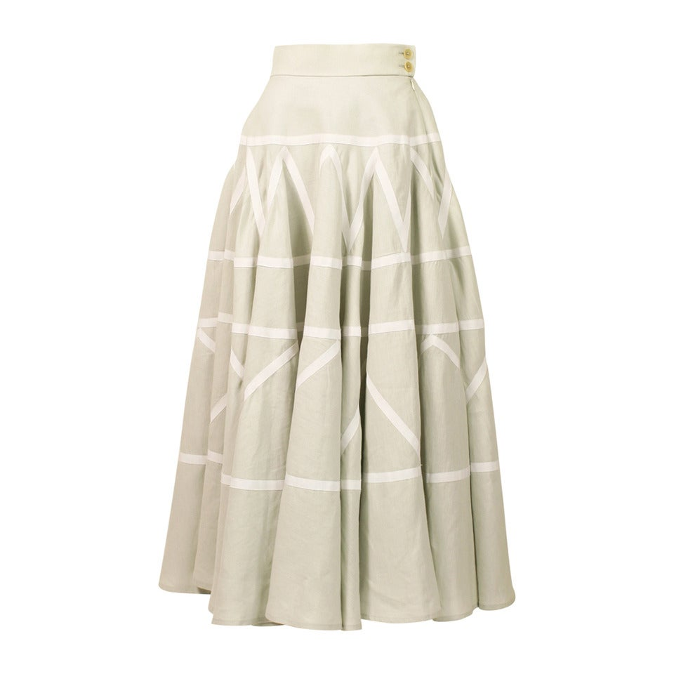 hermes high waisted linen and ribbon circle skirt at