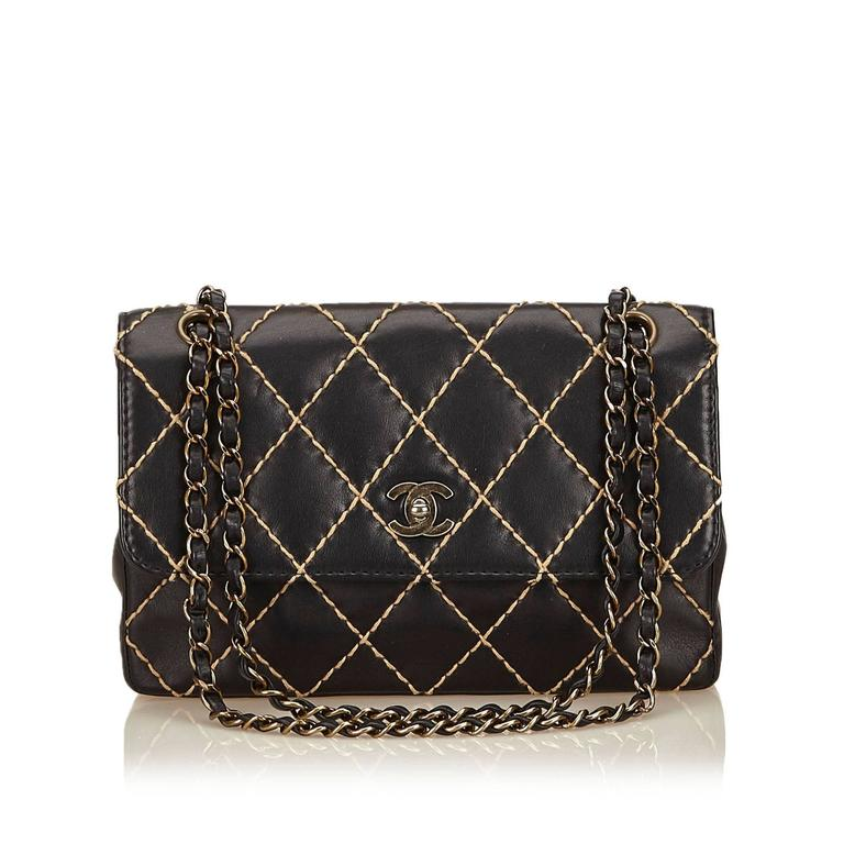 9aafb3eae4e8 Chanel Black Quilted Lambskin Wild Stitch Flap Bag In Excellent Condition  For Sale In Sheung Wan