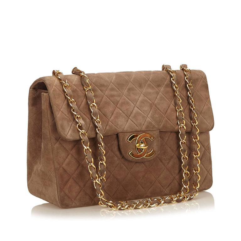 49dee506b6 Chanel Brown Quilted Suede Maxi Shoulder Flap Bag In Excellent Condition  For Sale In Sheung Wan