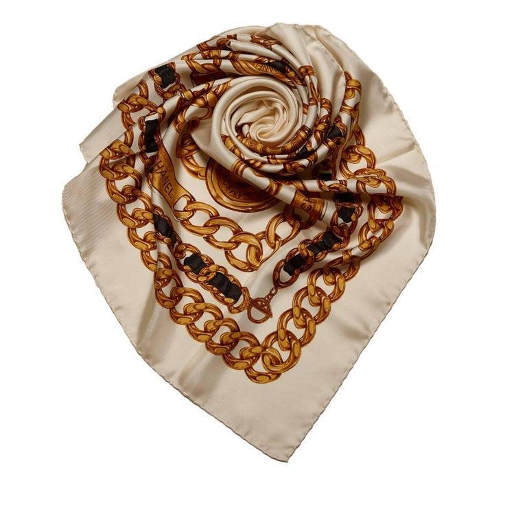 chanel white silk chain pattern square scarf for sale at
