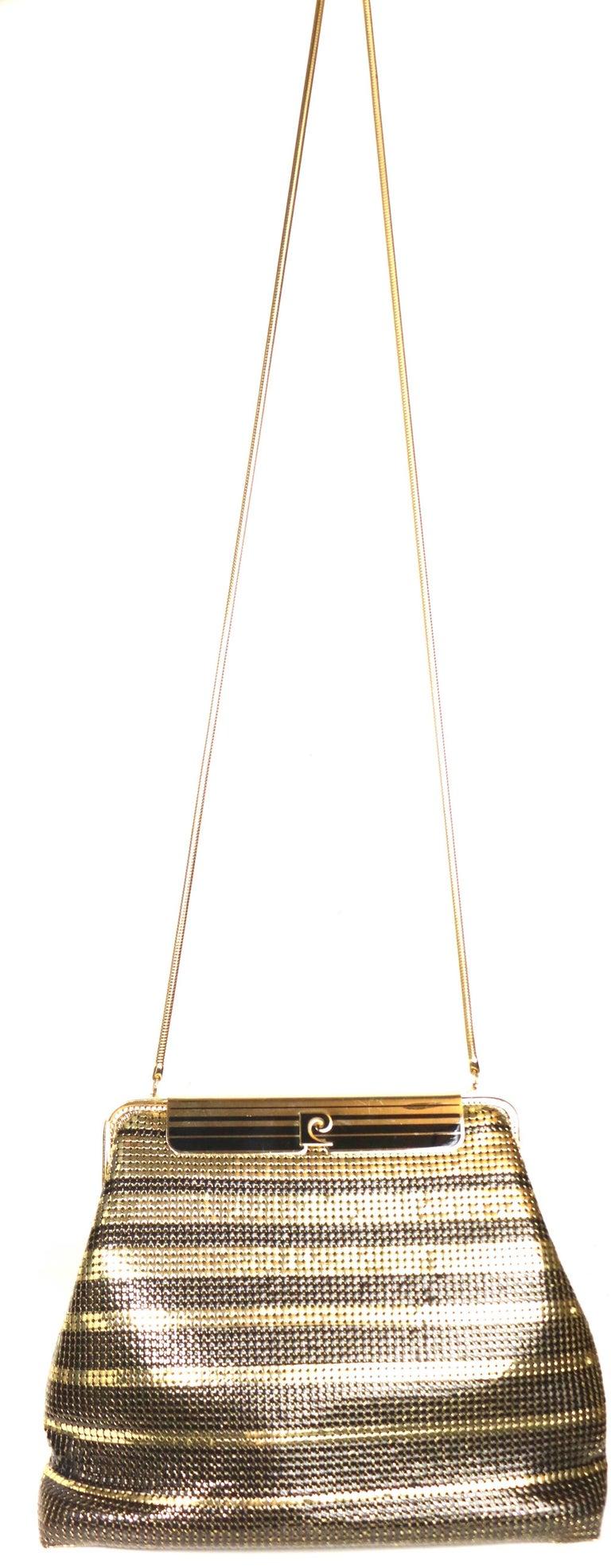 Women's Vintage Pierre Cardin Black and Gold Plated Stripe Sequins Shoulder Bag/Clutch  For Sale