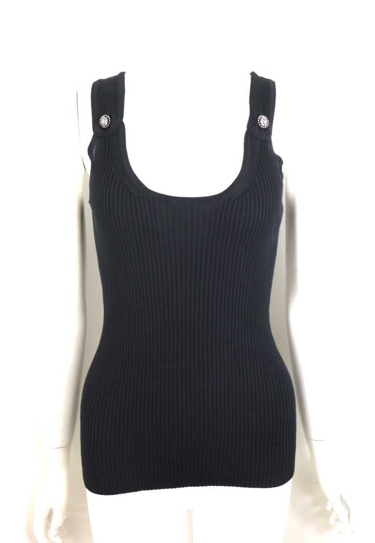- Chanel black cotton knitted tank top.   - Featuring two