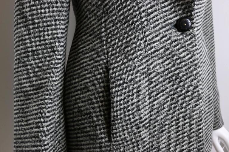 Chanel Classic Wood Black and White Tweed Blazer 4