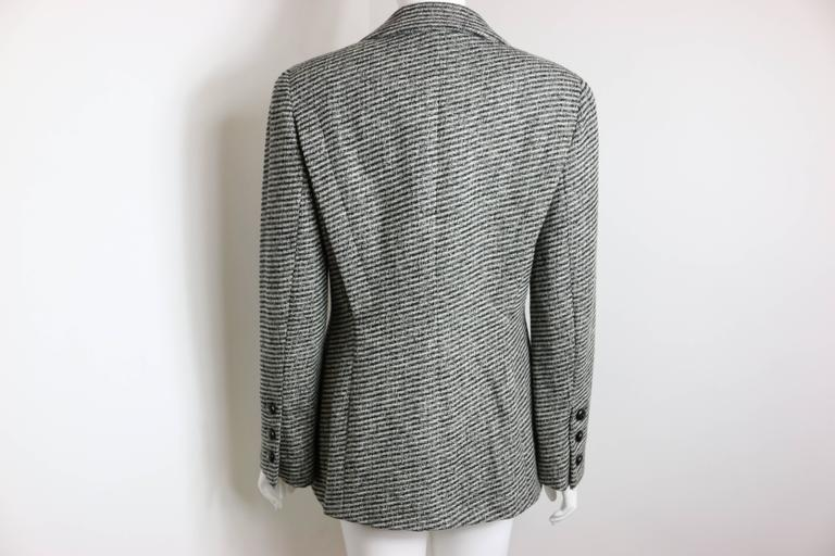 Chanel Classic Wood Black and White Tweed Blazer 2