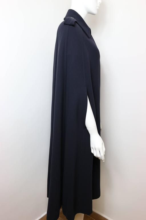 Gucci by Tom Ford Navy Wool Long Cape Coat For Sale at 1stdibs