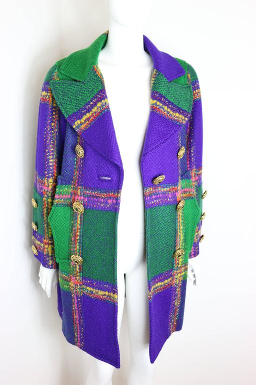 Purple Christian Lacroix  Multi-Coloured Double Breasted Tweed Coat For Sale