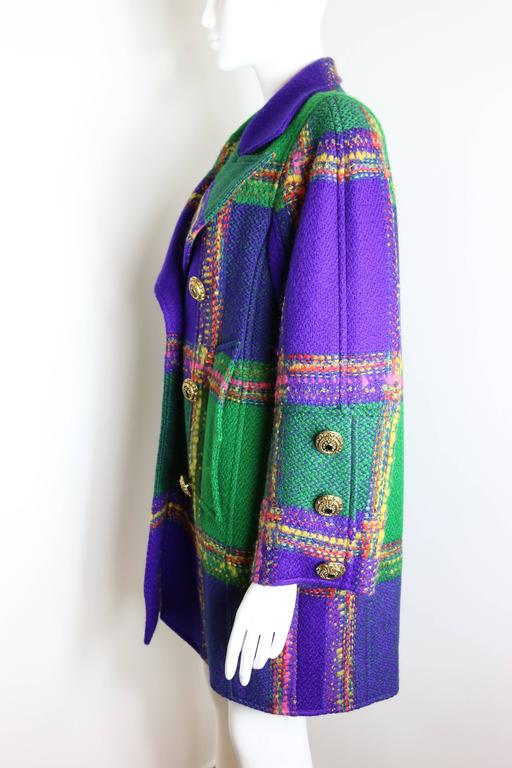 Christian Lacroix  Multi-Coloured Double Breasted Tweed Coat In Excellent Condition For Sale In Sheung Wan, HK