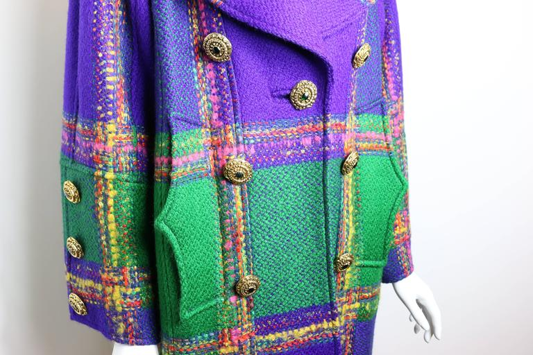 Women's Christian Lacroix  Multi-Coloured Double Breasted Tweed Coat For Sale