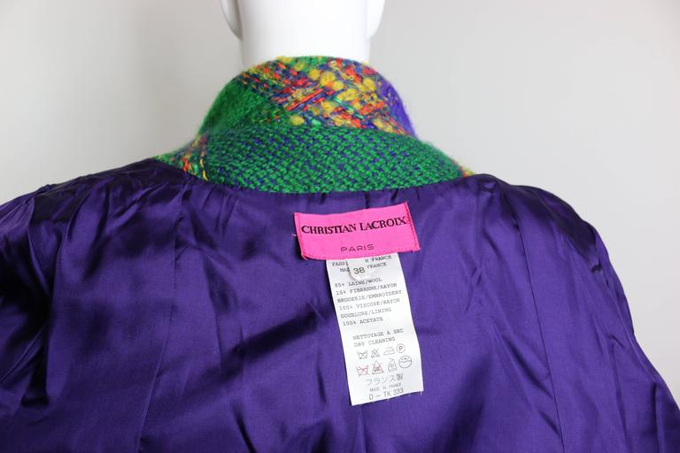 Christian Lacroix  Multi-Coloured Double Breasted Tweed Coat For Sale 2