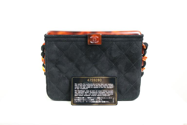 Chanel Black Quilted Suede Tortoise Lucite Top Box Bag 4
