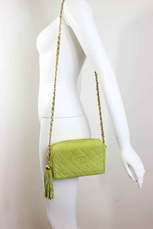 Chanel Vintage Apple Green Quilted Suede Small Camera Tassel Bag  3