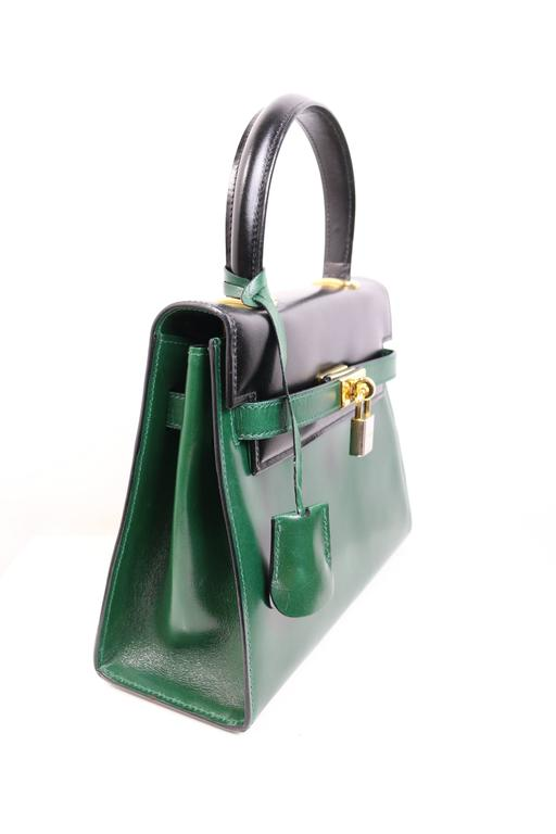 Blue Escada Green and Black Patent Leather Handbag For Sale