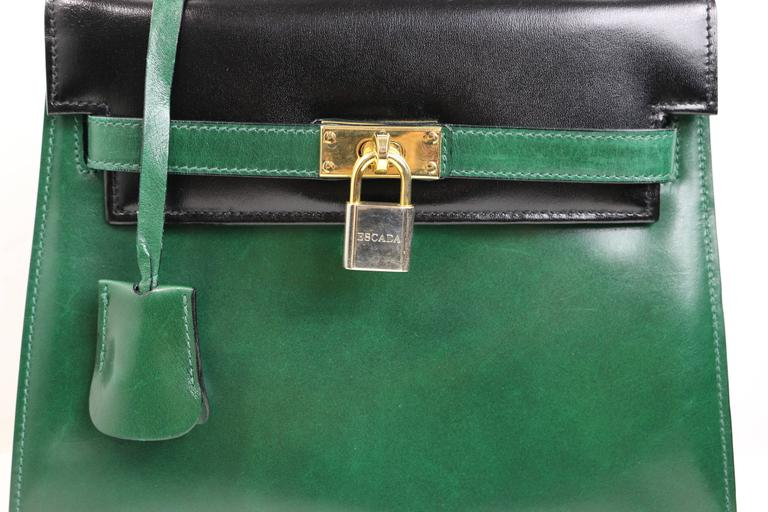 - This beautiful well made 80s Escada green/black colour blocked patent leather