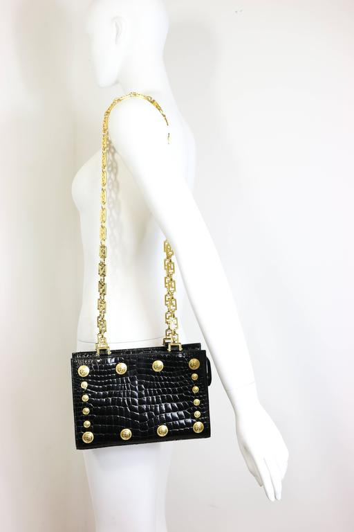 e855e2700c Vintage 90s Gianni Versace Couture black patent leather with iconic medusa  and double chain straps