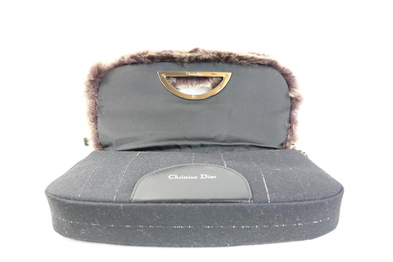 Beige Christian Dior Rabbit Fur Saddle Hobo Bag (Limited Edition) For Sale