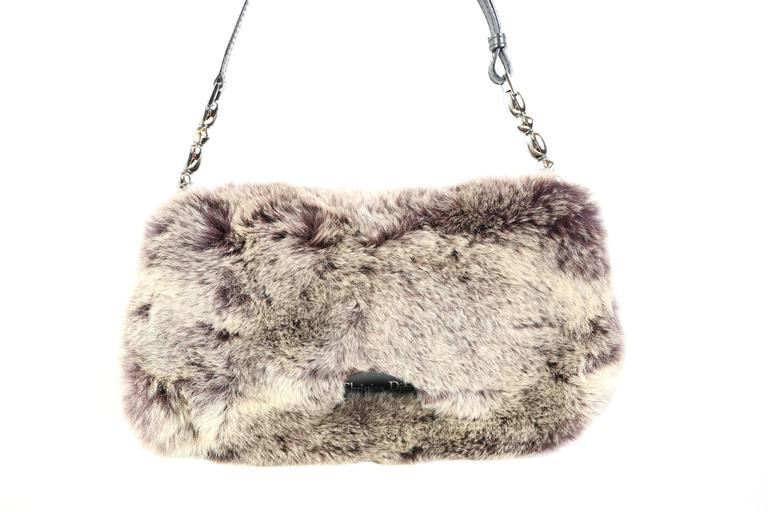 - John Galliano Dior early 2000s single leather strap with metal balls on each end of the strap.   - Front clasp button closure.   - Front is covered with super soft & luxurious rabbit fur & the back is made up of cloth canvas. with silver