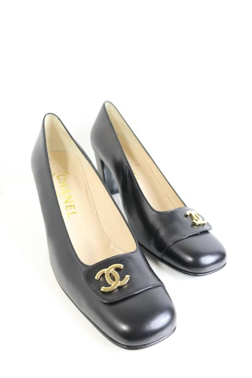 Chanel Classic Black Leather Square Toe Heels with Gold CC Logo 2