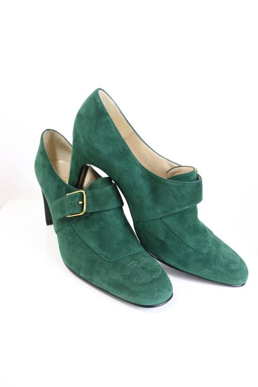 Black Chanel Green Suede Square Toe Ankle Strap Heels  For Sale