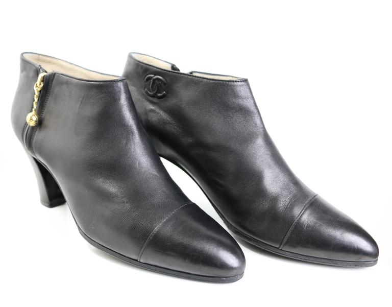 Chanel Black Leather Ankle Boots 2