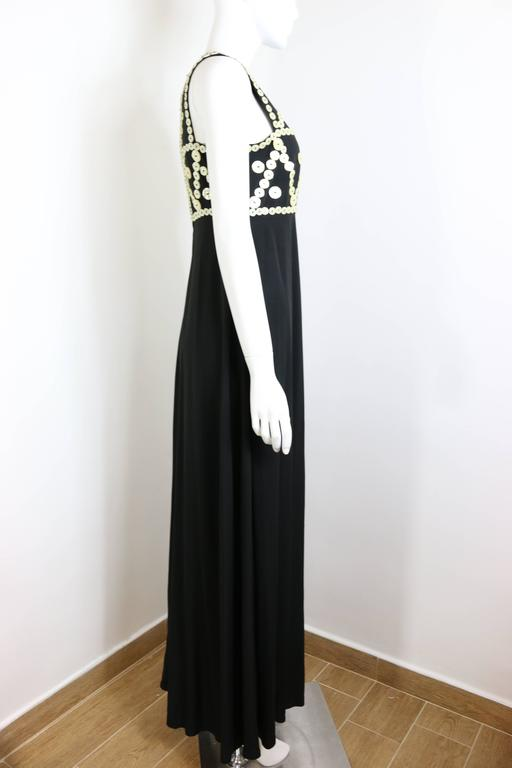 Franck Sorbier Haute Couture Black Embroidered Mother of Pearl Button Maxi Dress In Excellent Condition For Sale In Sheung Wan, HK
