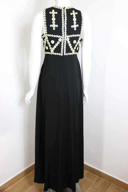 Women's Franck Sorbier Haute Couture Black Embroidered Mother of Pearl Button Maxi Dress For Sale