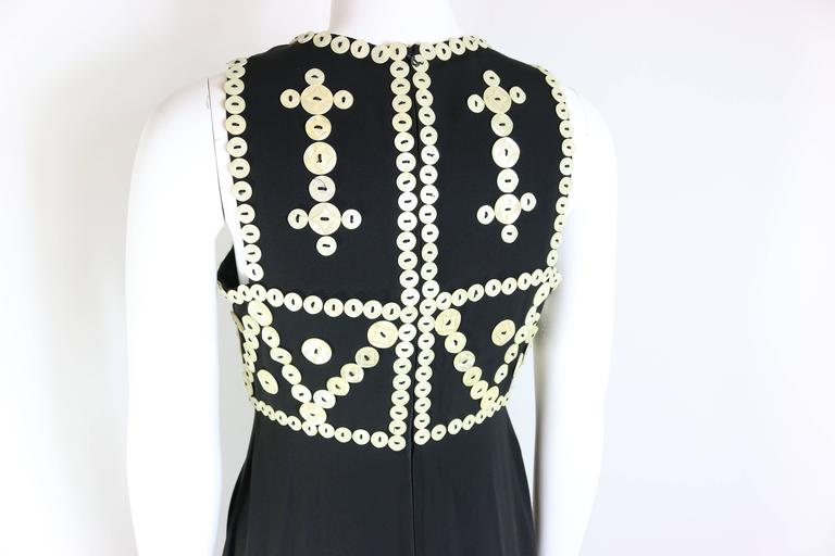 Franck Sorbier Haute Couture Black Embroidered Mother of Pearl Button Maxi Dress For Sale 1