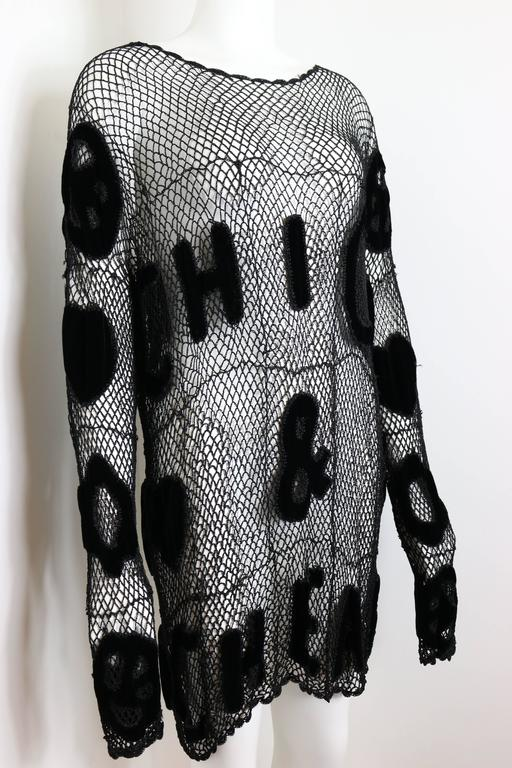 Moschino Chic and Cheap Black See Through Knitted Dress 4
