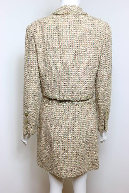 Women's Vintage 94 Chanel Gold Tweed Metallic Dress Suit For Sale
