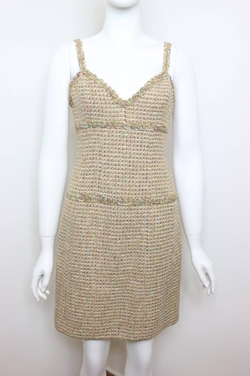 Vintage 94 Chanel Gold Tweed Metallic Dress Suit For Sale 1