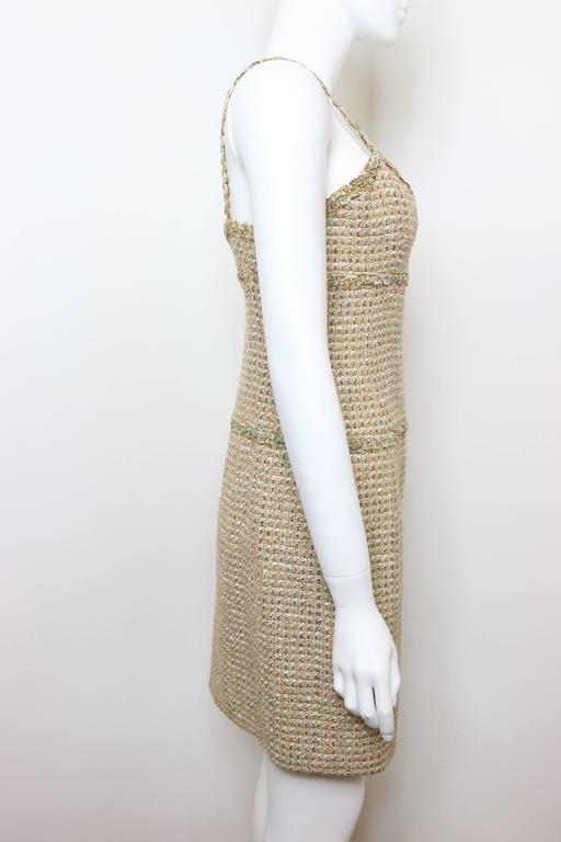 Vintage 94 Chanel Gold Tweed Metallic Dress Suit For Sale 3