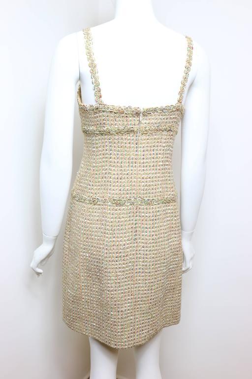 Vintage 94 Chanel Gold Tweed Metallic Dress Suit For Sale 4