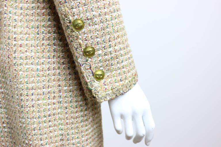 Vintage 94 Chanel Gold Tweed Metallic Dress Suit In Excellent Condition For Sale In Sheung Wan, HK