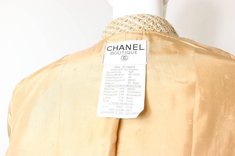 Vintage 94 Chanel Gold Tweed Metallic Dress Suit For Sale 6