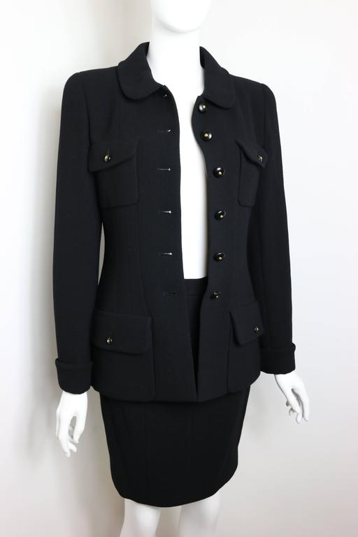 Chanel Black Wool Suit 8