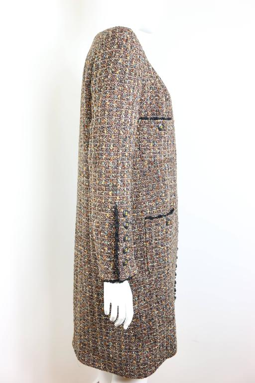 Gray Fall 1994 Chanel Brown Wool Tweed Long Coat and Dress  For Sale
