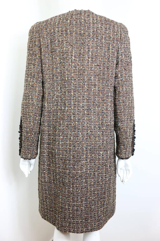 Fall 1994 Chanel Brown Wool Tweed Long Coat and Dress  In Excellent Condition For Sale In Sheung Wan, HK