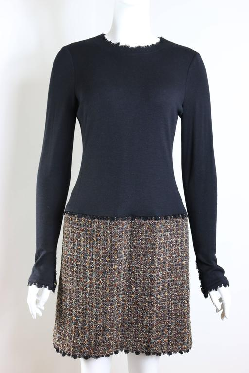 Women's Fall 1994 Chanel Brown Wool Tweed Long Coat and Dress  For Sale