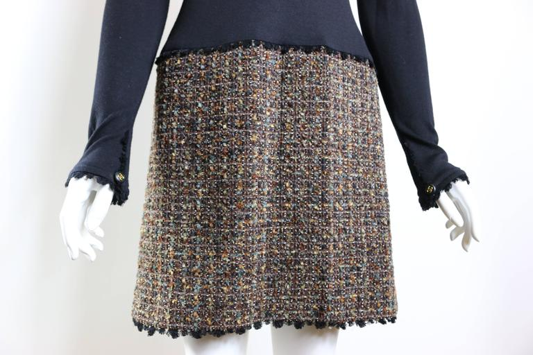 Fall 1994 Chanel Brown Wool Tweed Long Coat and Dress  For Sale 1