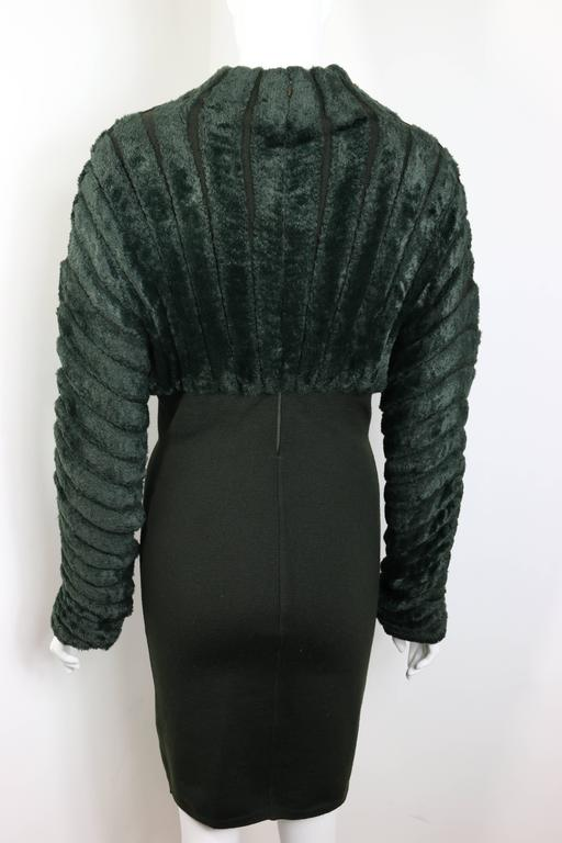 Black Alaia Green Chenille Dress For Sale