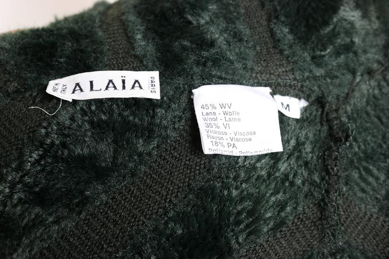 Alaia Green Chenille Dress In Excellent Condition For Sale In Sheung Wan, HK