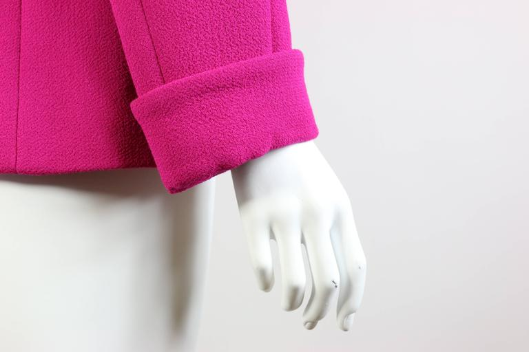 Chanel Fuchsia Boucle Wool Jacket  In New Condition For Sale In Sheung Wan, HK